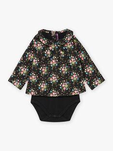 Body nero maniche lunghe stampa a fiori neonata BAMELODIE / 21H1BFM2BOD090