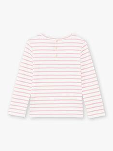 T-shirt maniche lunghe a righe rosa chiaro bambina BROMARETTE3 / 21H2PFB5TML001
