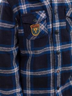 Camicia con cappuccio blu e nero a quadri bambino BEXAGE / 21H3PG91SCH715