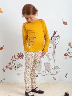 Leggings ecrù con stampa a fiori bambina BUPOLETTE / 21H4PFJ1CAL001