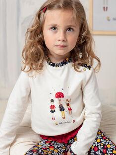 T-shirt maniche lunghe ecrù stampa fantasia bambina BICHETTE / 21H2PF53TML001