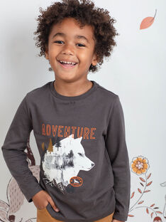 T-shirt grigio antracite stampa lupo bambino BIDIBAGE / 21H3PGJ1TMLI808