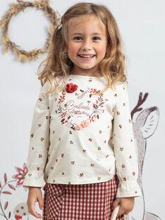 T-shirt ecrù e rossa con stampa a fiori bambina BUTIETTE / 21H2PFJ3TML001