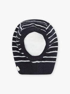 Passamontagna in maglia navy a righe neonato BIRUFUS / 21H4BGE5BONC205