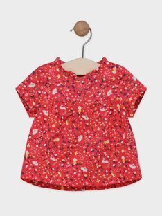 Baby girls' red, printed blouse SAALICE / 19H1BF21CHED313