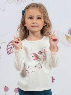 T-shirt bianca e rosa bambina BOSANDETTE / 21H2PF91TML001