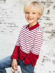 Polo maniche lunghe rossa e bianca a righe bambino BACLOAGE / 21H3PG11POL001