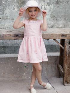 Abito rosa ricamato bambina TYNOETTE / 20E2PFJ3ROB321