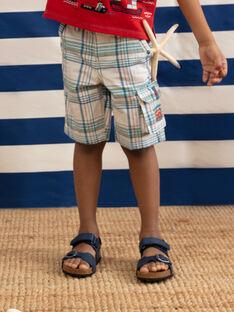 Bermuda a quadri bianchi e verdi bambino TUCLIAGE / 20E3PGW2BER001