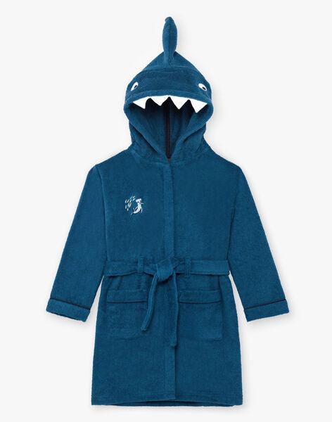 Accappatoio con cappuccio petrolio con motivo squalo bambino BEPEIGNAGE / 21H5PG61PEI714