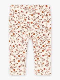 Leggings ecrù con stampa a fiori neonata BAIDYLLE / 21H4BFJ1CAL001