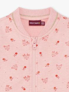 Giubbotto rosa con stampa cerbiatto e fiore neonata BAISA / 21H1BFJ1JGHD314