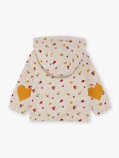 Felpa con cappuccio beige melange e rossa con stampa a fiori neonata BAELISA / 21H1BF51JGHA011