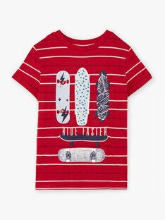 T-shirt rossa e bianca a righe bambino BADROAGE / 21H3PG11TMC050