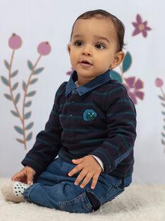 Polo a maniche lunghe blu a righe ricamata neonato BAJORGE / 21H1BG91POL715