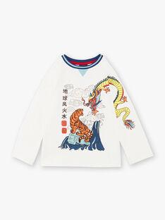 T-shirt bianco con motivi fantasia in jersey di cotone ZAGERAGE / 21E3PGI1TML001