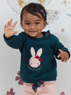 Maglia blu con motivo coniglio e dettagli con stampa a fiori neonata BAGAELLE / 21H1BF91PUL714
