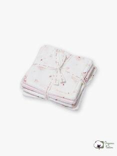 6 salviette rosa e bianche nascita bambina BOZENA / 21H0AF41ACD301