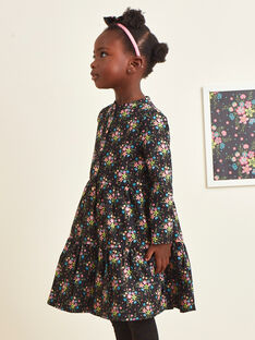 Abito nero maniche lunghe stampa a fiori bambina BRITNETTE / 21H2PFM1ROB090