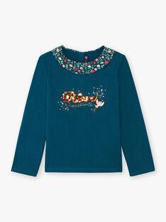 T-shirt maniche lunghe petrolio con collo stampa fantasia bambina BOLORETTE / 21H2PF92TML714