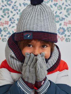 Berretto in maglia grigio melange con pompon bambino BUBONAGE / 21H4PGE1BON943