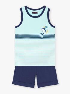 Completo da spiaggia blu e celeste canottiera e shorts bambino ZIPALAGE1 / 21E3PGQ4ENSC242