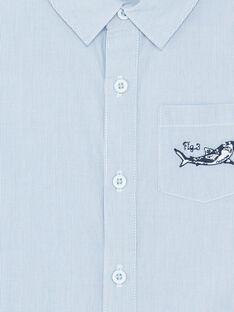 Camicia celeste a maniche corte a righe bambino ZITOTAGE / 21E3PGT1CHM000