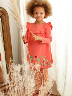 Camicia da notte e leggings corallo e arancione bambina ZEDORETTE / 21E5PF11CHN419