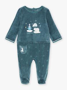 Tutina blu Cina in velluto con motivo animali dei ghiacci neonato BECELESTIN / 21H5BG74GRE720