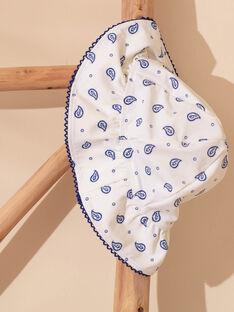 Cappello bianco con motivo a fiori blu bambina ZAIFAETTE / 21E4PFR1CHA001