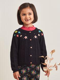 Cardigan in maglia nero con ricami fiori bambina BRICADETTE / 21H2PFM2CAR090