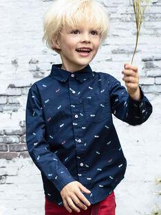 Camicia maniche lunghe blu notte bambino BABLIAGE / 21H3PG11CHM720