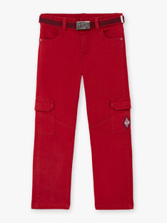 Pantaloni rossi multitasche e cintura bambino BADAGE / 21H3PG11PAN050
