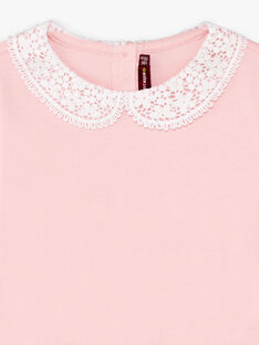 T-shirt maniche lunghe rosa chiaro colletto Peter Pan bambina BROTOZETTE1 / 21H2PFB2TML321