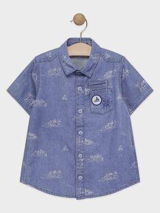 Camicia blu con stampa bambino TICLOAGE / 20E3PGO1CHMP265
