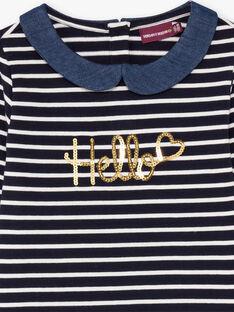 T-shirt navy e bianca a righe bambina BIMARETTE / 21H2PF52TML070