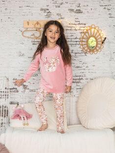 Pigiama maniche lunghe rosa con stampa fiori in velluto bambina BEBETTE / 21H5PF62PYJ312