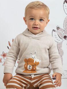 Maglia beige motivo orsetto e coniglio neonato BALOUIS / 21H1BGJ1PUL811