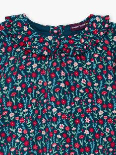 Blusa maniche lunghe blu con stampa a fiori neonata BAGANIE / 21H1BF91CHE714