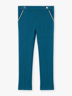 Pantaloni con pieghe petrolio bambina BEMILETTE3 / 21H2PF91PAN714