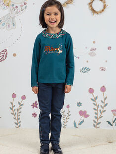 Jeans blu scuro con stampa a fiori bambina BOJANETTE / 21H2PF91JEAP271