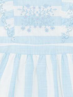 Abito ricamato a righe bianche e blu bambina ZUROBETTE / 21E2PFT1ROB001
