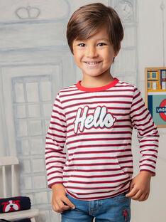 T-shirt maniche lunghe a righe scritta Hello bambino BEBILAGE / 21H3PG52TML001