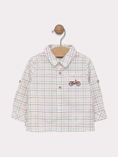 Camicia a quadri neonato ecrù con motivi a quadri rosso aranciato, kaki e navy SADUSTIN / 19H1BG31CHM000