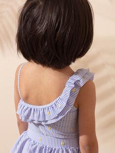 Costume intero blu a righe con volant sul collo bambina ZAIMAETTE / 21E4PFR1D4KC218