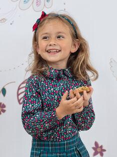 Camicia a maniche lunghe petrolio con stampa a fiori collo alto bambina BOMETTE / 21H2PF91CHE714