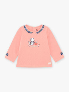 T-shirt collo con volant con stampa rosa corallo neonata BAKAVI / 21H1BFL1TEE415