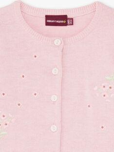 Cardigan rosa maniche lunghe nascita bambina BOUCHERA / 21H0CF41CARD310