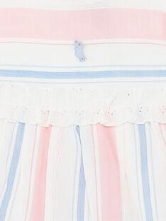 Abito ecrù, rosa e blu a righe e bloomer abbinato neonata ZAPHOEBE / 21E1BFT1ROB001