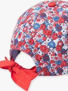Cappellino con motivo a fiori blu e rosso bambina ZAINOETTE / 21E4PFR2CHA020
